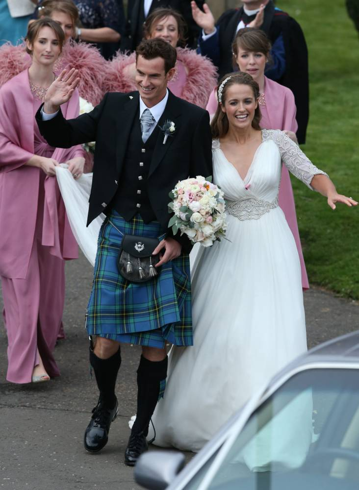 Murray is married! Tennis star emerges from Dunblane Cathedral with new wife Kim Sears after wedding
