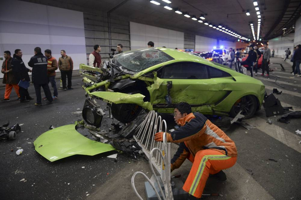 Expensive supercars left mangled after 'drag race' car crash