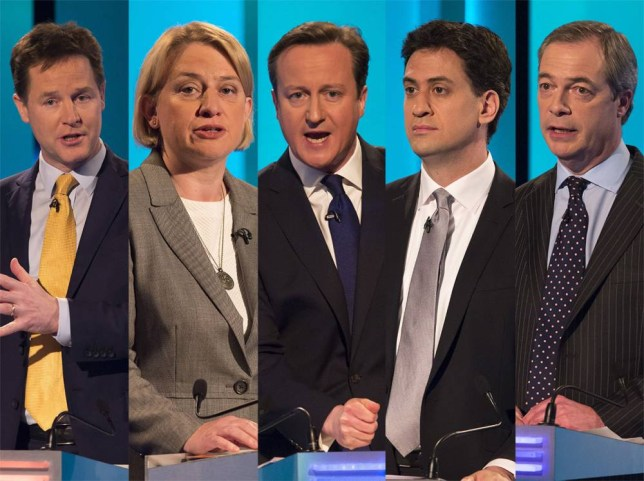 SALFORD, ENGLAND - APRIL 2: (EDITORIAL USE ONLY. NO MERCHANDISING. NO ARCHIVE AFTER MAY 02, 2015)  In this handout provided by ITV,  British Prime Minister and Conservative leader David Cameron takes part in the ITV Leader's Debate 2015 at MediaCityUK studios on April 2, 2015 in Salford, England. Tonight sees a televised leaders election debate between the seven political party leaders, Green Party leader Natalie Bennett, Liberal Democrat leader Nick Clegg, UKIP leader Nigel Farage, Labour leader Ed Miliband, Plaid Cymru leader Leanne Wood, Scottish National Party leader Nicola Sturgeon and Conservative leader David Cameron. The debate will be the only time that David Cameron and Ed Miliband will face each other before polling day on May 7th.  (Photo by Ken McKay/ITV via Getty Images)