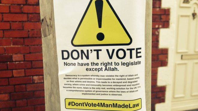 Posters found in city centre urging British Muslims not to vote