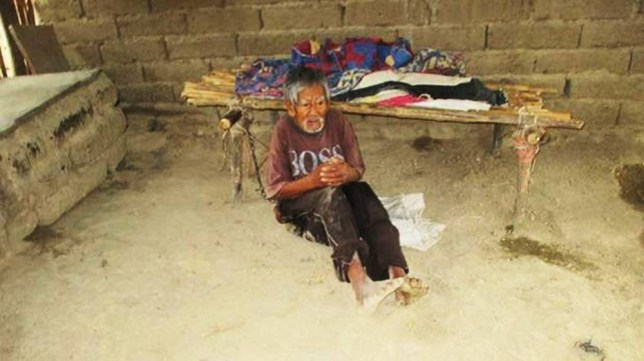"""Pic shows: Ignacio Pablo Tamariz Coraquillo was chained up in a wooden shack and left there for two years.nnAn OAP has been rescued after his nagging wife chained him up in a wooden shack and left him there for two years.nnIgnacio Pablo Tamariz Coraquillo, 86, was found starving and smelly in the small village of Huauyan in western Peru after local officials heard rumours about """"the man in chains.""""nnVillager Viviano Villareal Corral, 56, said: """"We knew he was there but his wife told us it was for his own good.nn""""She said he kept trying to run away and she decided the best way to keep him at home was to tie him up.nn""""But we didn¿t realise that he was there all the time.nn¿We just thought it was now and then.nn""""She is quite a demanding woman and often moans about him to my wife who works with her.nn""""Their children left along time ago and now it¿s just the two of them.""""nnAnother villager, Ananias Esquivel Banda, 45, added: """"Sometimes I felt sorry for him so would go and give him bits of food.nn""""Although the wife works they are very poor and I think she eats most of the food.""""nnThe pensioner was found after locals tipped off officials.nnA spokesman for the local region said: """"When we heard about the man in chains we sent a tram down to investigate and discovered him in a shack on the outskirts of the village.nn""""He was very weak and slightly bewildered to see us.nn""""He has now bee taken to hospital and we are trying to find some social housing for him.""""nnWife Epifania Trejo Rios, 77, said: """"If he hadn¿t tried to run away then this would never have happened.nn""""I did it for his own good.""""nn(ends)nn"""