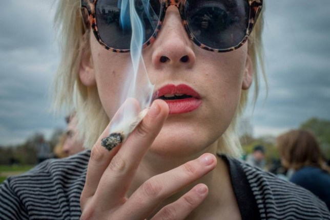 Mandatory Credit: Photo by ZUMA/REX Shutterstock (4677968u)  Hundreds of people attend a pro-cannabis rally in Hyde Park on '420 Day'  '420 Day' pro-cannabis rally at Hyde Park, London, Britain - 19 Apr 2015