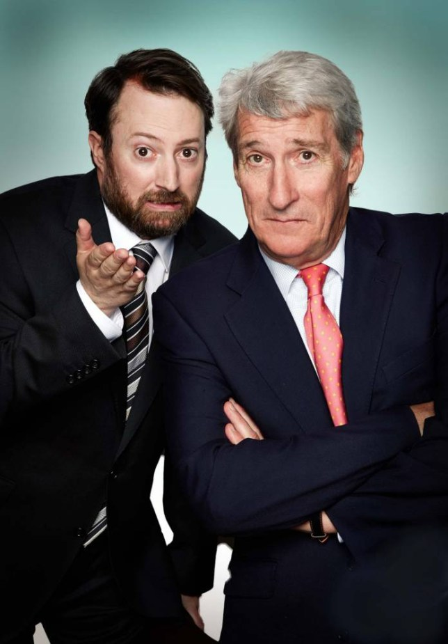 Undated handout photo issued by Channel 4 of David Mitchell and veteran BBC interrogator Jeremy Paxman who will be hosting Channel 4's Alternative Election Night on May 7.  PRESS ASSOCIATION Photo. Issue date: Monday April 20, 2015. The show will also include special election-themed episodes of Gogglebox and The Last Leg. See PA story ELECTION Channel4. Photo credit should read: Channel 4/PA Wire NOTE TO EDITORS: This handout photo may only be used in for editorial reporting purposes for the contemporaneous illustration of events, things or the people in the image or facts mentioned in the caption. Reuse of the picture may require further permission from the copyright holder.