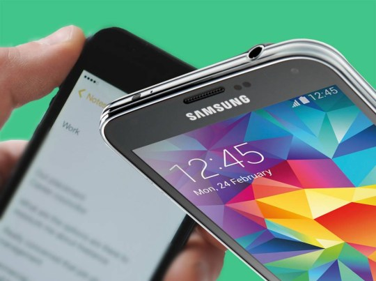 A Samsung Galaxy S5 smartphone, taken on April 17, 2014. (Photo by Neil Godwin/T3 Magazine via Getty Images)