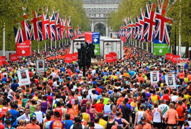 Mandatory Credit: Photo by Ray Tang/REX Shutterstock (4711020z)  Competitors coming to the finish line on The Mall  Virgin London Marathon, Britain - 26 Apr 2015