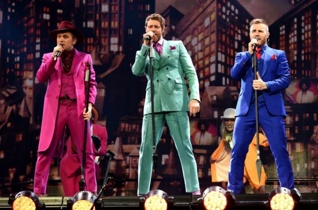 Mandatory Credit: Photo by David Fisher/REX Shutterstock (4719604b) Take That - Gary Barlow, Mark Owen and Howard Donald Take That in concert, SSE Hydro, Glasgow, Scotland, Britain - 27 Apr 2015 First night of UK tour