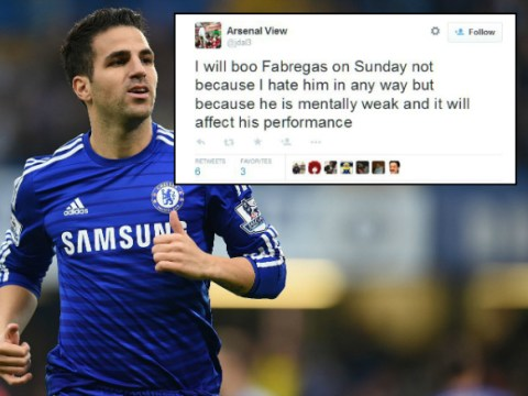 Arsenal fans preparing to boo 'mentally weak' Cesc Fabregas ahead of Chelsea clash