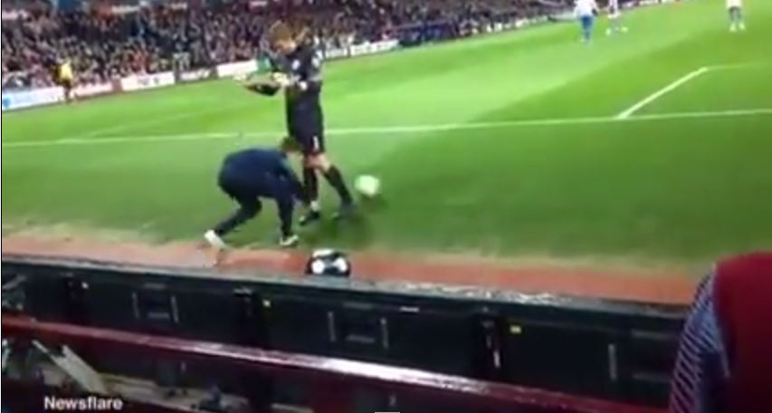 Aston Villa ball boy tries to waste time during 3-3 draw with QPR by 'nutmegging' Rob Green