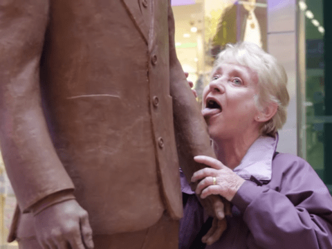 Hidden camera shows people licking and nibbling Benedict Cumberbatch statue made from chocolate