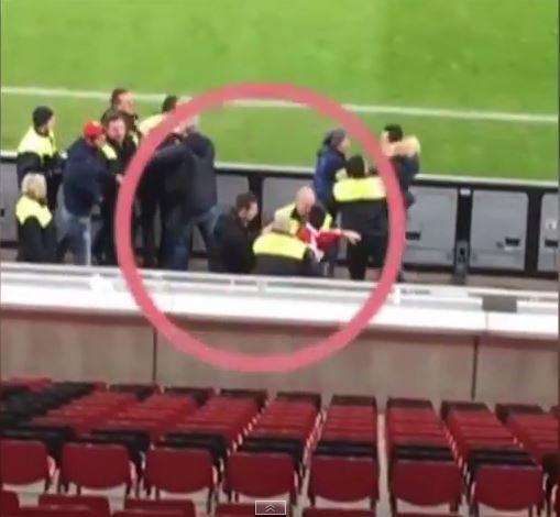 Bayer Leverkusen's Emir Spahic appears to headbutt and fight stewards after Bayern Munich Cup elimination