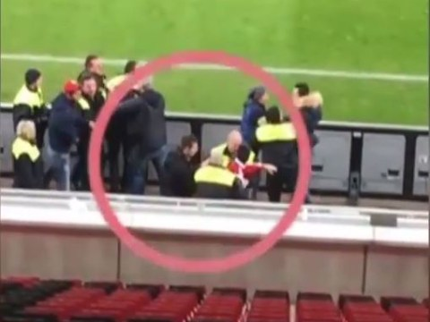 Bayer Leverkusen's Emir Spahic appears to headbutt and fight stewards after Bayern Munich Cup elimination