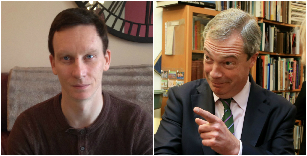 Man says he's allergic to Nigel Farage and he makes him sweat and shake