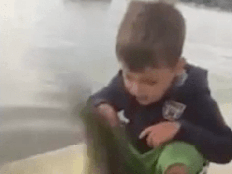 Just a toddler getting slapped in the face by a fish