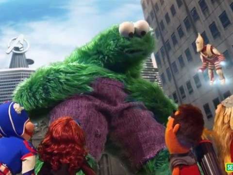 Cookie Monster goes full Hulk to eat giant cookie for Sesame Street spoof of The Avengers