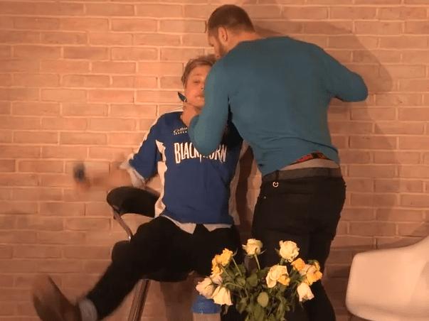 London Wasps captain James Haskell slams YouTube star Thomas Gray into wall as 'interview goes wrong