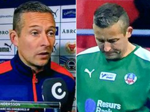 Henrik Larsson plays 42-year-old kitman in goal for Helsingborgs, he brilliantly keeps clean sheet