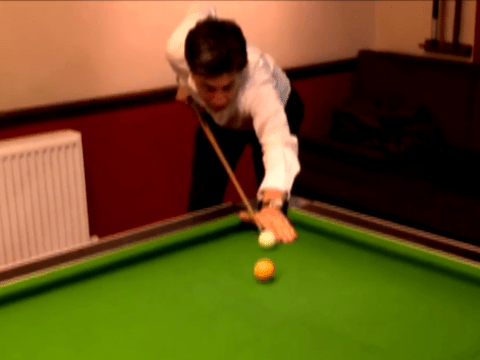 Check out Ed Miliband's amazing trick shot while playing pool