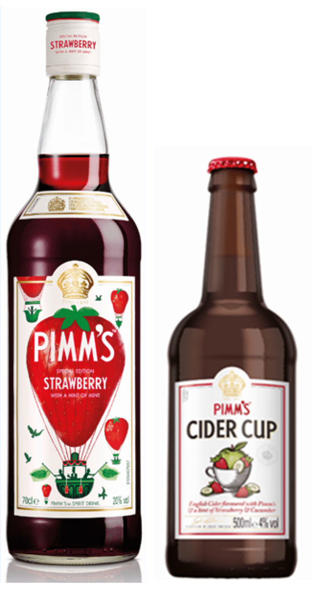 Pimm's strawberry with a hint of mint and Pimm's cider cup