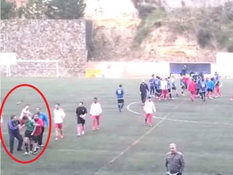 Watch the shocking moment referee in amateur Spanish match has shin pad thrown at him