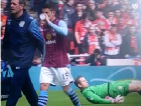 Shay Given performs rather odd stretching exercise during FA Cup semi-final between Aston Villa and Liverpool