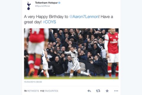 Tottenham wish Aaron Lennon Happy Birthday on Twitter – one day early
