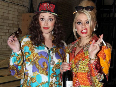 Holly Willoughby and Fearne Cotton channel Ab Fab's Patsy and Edina for Celebrity Juice birthday show