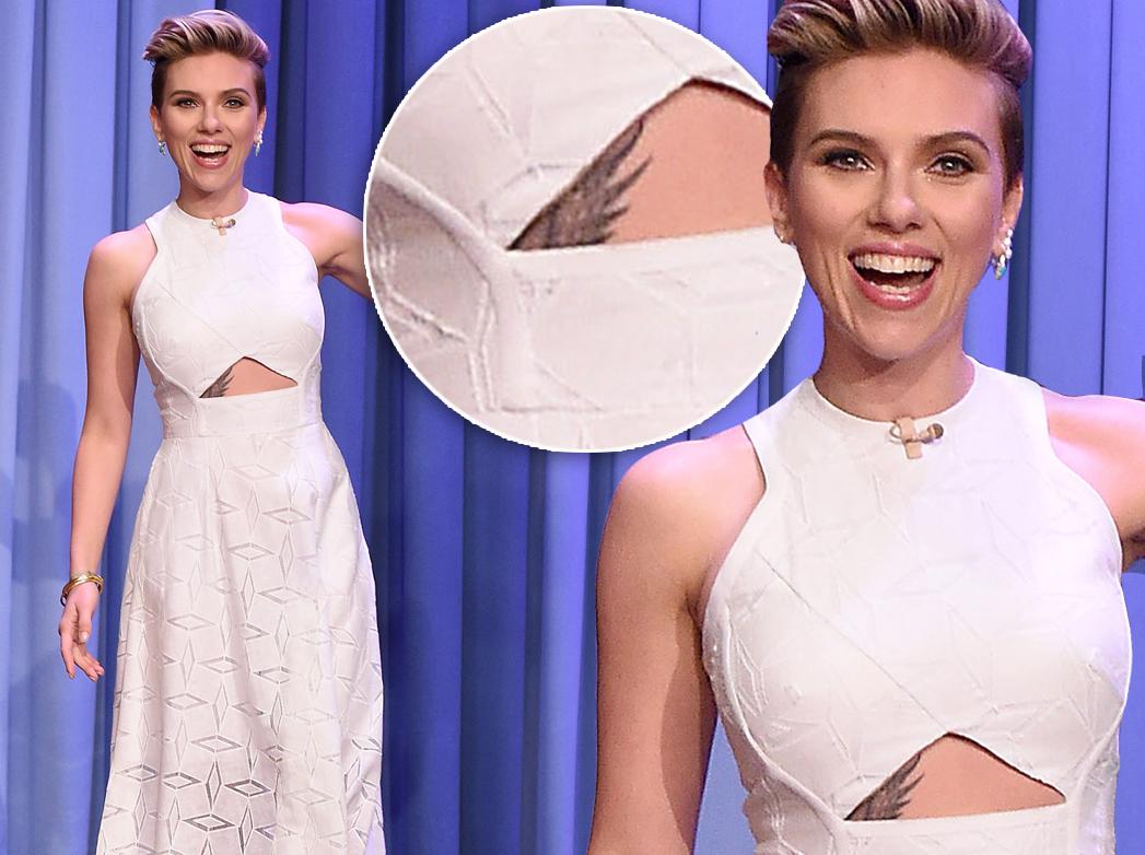 Scarlett Johanson unveils never before seen torso tattoo