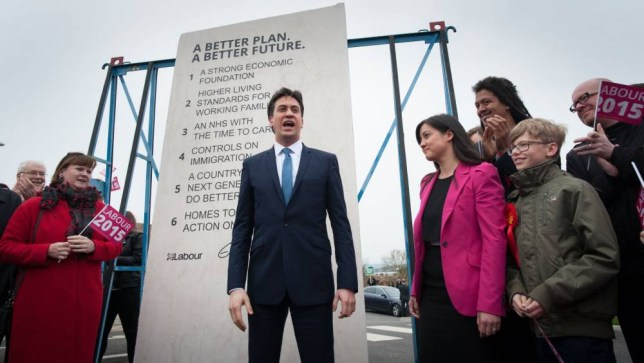 Labour leader Ed Miliband unveils Labour's pledges carved into a stone plinth in Hastings during General Election campaigning. PRESS ASSOCIATION Photo. Picture date: Saturday May 2, 2015. See PA story ELECTION Labour. Photo credit should read: Stefan Rousseau/PA Wire