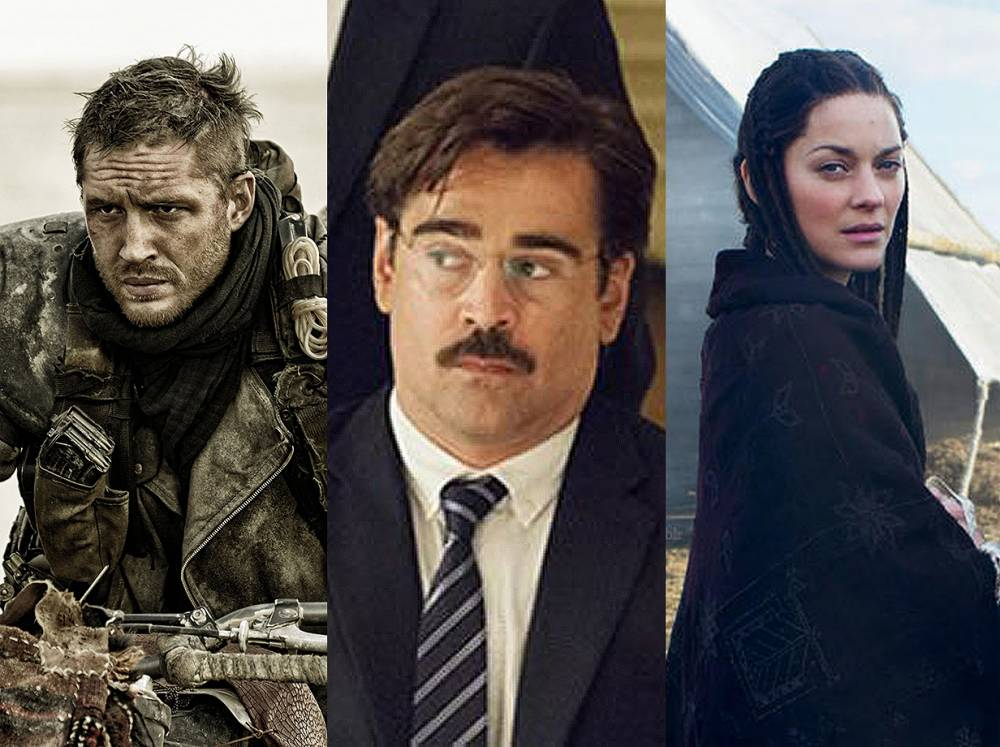 Tom Hardy from Mad Max Fury road, Colin Farrell in The Lobster and Marion cotillard from Macbeth Cannes Film Festival opens today so here's our top picks (Picture: Warner Bros. / Studio Canal / The Weinstein Company / Protagonist Pictures / Picturehouse Entertainment)