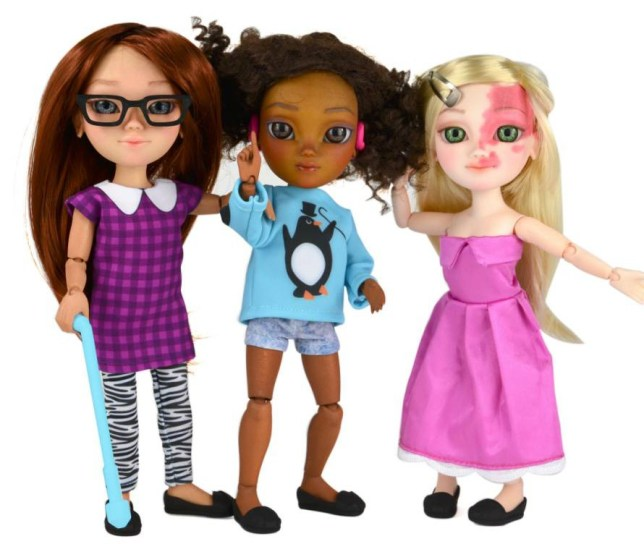 """MANDATORY CREDIT: Makies/REX Shutterstock  Mandatory Credit: Photo by Makies/REX Shutterstock (4774781a)  Vision impaired doll with walking stick, hearing impaired doll with hearing aid (making an ?I love you? sign in American Sign Language) and doll with birth mark on face  Dolls with disabilities range launched thanks to online campaign, Britain - 14 May 2015  FULL COPY: http://www.rexfeatures.com/nanolink/qe6l  An online campaign calling for dolls to reflect children with disabilities has seen a new range launched.  In recent weeks, the Toy Like Me Facebook campaign (www.facebook.com/toylikeme) has rallied for greater 'diversity in the toy box', calling for toys that reflect children in more inclusive ways than the market currently offers.  Toy Like Me?s Facebook posts of toy ?makeovers? by parents of disabled children have been widely shared, reaching an audience of 50,000 and rising thanks to enthusiastic support from parents eager for positive representation of disability in toys.  The community-run Facebook campaign responded a rallying cry for other major toy manufacturers to follow the example: """"Come on LEGO, Playmobil, Mattell Barbie, 770,000 UK children with disabilities (and millions more beyond) need positive toy box representation now!"""""""