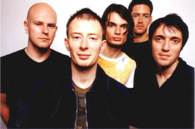 LOS ANGELES, CA - JUNE 11: Rock band Radiohead poses for a portrait at Capitol Records, Hollywood, California on June 11, 1997. (Thom Yorke 2nd from left) (Photo by: Jim Steinfeldt/Michael Ochs Archives/GettyImages)