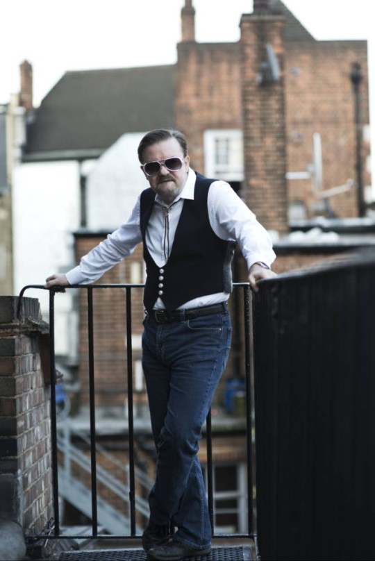 "Twelve years ago, David Brent (Ricky Gervais) was a regional manager for a mid-level paper merchants.  In Summer 2016, get ready to see him on the big screen as he chases fame and fortune in LIFE ON THE ROAD.   Now working as a rep selling cleaning (and ladies personal hygiene) products up and down the country, Brent hasnít given up his dream of becoming a rock star - or more specifically, singer/songwriter for fledgling rock band ëForegone Conclusioní.  As he assembles a group of mercenary session musicians, a talented sidekick for street cred and an overpriced yet underwhelmed tour manager, he embarks upon a self-financed UK tour coming to a venue near every major city near you. Ricky Gervais says, ""Iím so excited that the world will see what David Brent is up to now and where his future lies. This film delves much more into his private life than The Office ever did and we really get to peel back the layers of this extraordinary, ordinary man."" LIFE ON THE ROAD is directed, written by and stars Ricky Gervais as David Brent, one of the worldís best-loved comedy characters.  With original music by Ricky GervaisÖ.and not to mention a few of the classics - Free Love Freeway and Equality Street, this movie will do for every mid-level sales rep with a dream of becoming a rock god as what the Rolling Stones did for rock íní roll! Co-financed by Entertainment One and BBC Films.  Entertainment One will release LIFE ON THE ROAD in August 2016. Featuring: Ricky Gervais, David Brent Where: United Kingdom When: 18 May 2015 Credit: Rich Hardcastle **WENN does not claim any ownership including but not limited to Copyright, License in attached material. Fees charged by WENN are for WENN's services only, do not, nor are they intended to, convey to the user any ownership of Copyright, License in material. By publishing this material you expressly agree to indemnify, to hold WENN, its directors, shareholders, employees harmless from any loss, claims, damages, demands, expenses (including legal fees), any causes of action, allegation against WENN arising out of, connected in any way with publication of the material.**"