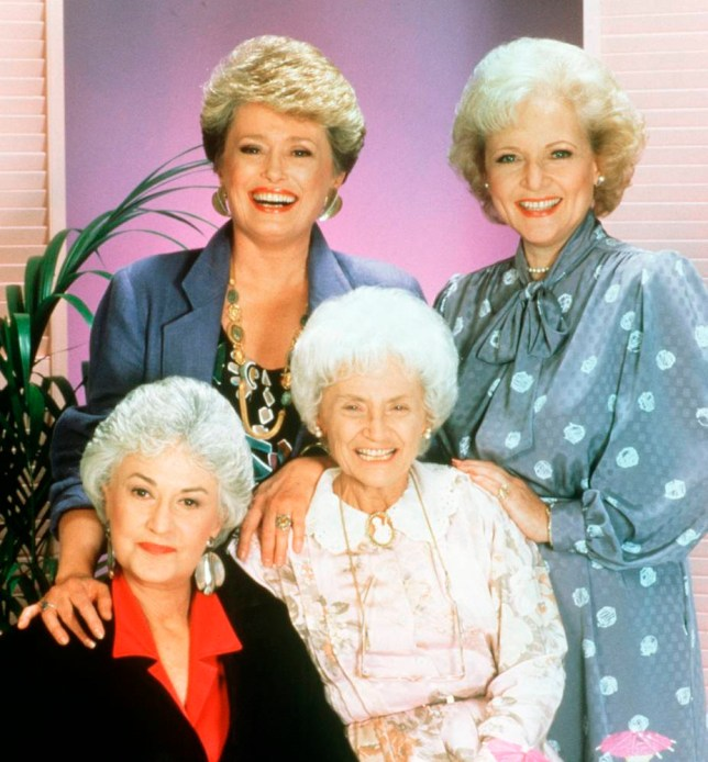 THE GOLDEN GIRLS - 9/14/85 - 9/14/92nTop: RUE MCCLANAHAN (Blanche), BETTY WHITE (Rose); BEA ARTHUR (Dorothy), ESTELLE GETTY (Sophia)n(ABC STUDIOS)