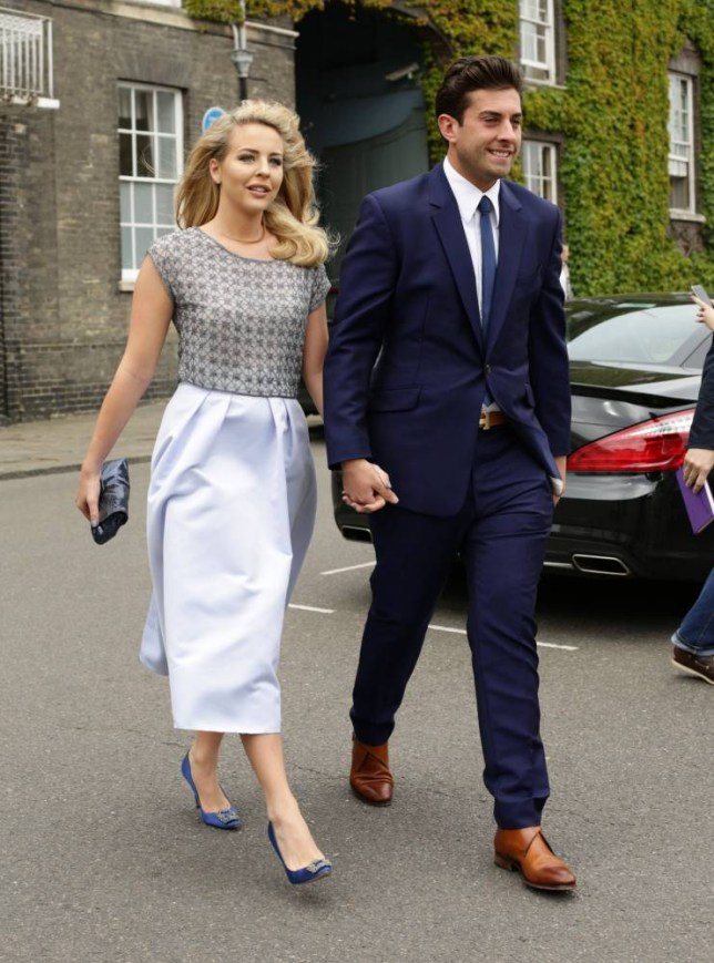 Lydia Bright and James Argent, make their way to St Mary's Church in Bury St Edmunds, Suffolk, for the wedding of former Coronation Street actress Michelle Keegan to The Only Way Is Essex star Mark Wright. PRESS ASSOCIATION Photo. Picture date: Sunday May 24, 2015. See PA story SHOWBIZ Keegan. Photo credit should read: Yui Mok/PA Wire