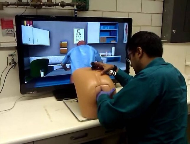"""Researchers at University of Florida, Drexel University and the University of Wisconsin worked together to create """"Patrick,"""" a robotic butt who assists medical students in practicing for proctology examinations. Credit: KQED SCIENCE"""