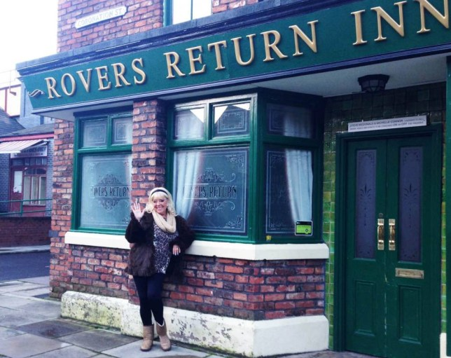 Television Programme: Coronation Street: A Moving Story with Julie Goodyear.  Pictured: Julie Goodyear says goodbye to the Rovers Return. Filmed over two years, Coronation Street: A Moving Story follows the Streets ambitious move of its entire production, cast and crew from its 53-year-old base at Granada Studios to its new home in Trafford. There is unprecedented access behind the scenes as Corrie stars like Sally Dynevor, Helen Worth and Jane Danson pack up their dressing rooms and film their final scenes on set at the old studios. The documentary also features previously unseen footage of Coronation Street being filmed in the early 1960s and tells the story of the evolution of filming the series - this new set is the fifth incarnation in the show's history. Show creator Tony Warren relives the moment he drove around the streets of Salford with the shows designer looking for the inspiration for the original Coronation Street set. Barbara Knox takes one final tour of the old set before saying a tearful farewell to the studios that she has called home for nearly 50 years. Julie Goodyear says an emotional goodbye to the Rovers Return at Granada, a set that gave  her 25 glorious years.   ITV  For further information please contact Peter Gray  0207 157 3046 peter.gray@itv.com  This photograph is   ITV and can only be reproduced for editorial purposes directly in connection with the  programme or ITV. Once made available by the ITV Picture Desk, this photograph can be reproduced once only up until the Transmission date and no reproduction fee will be charged. Any subsequent usage may incur a fee. This photograph must not be syndicated to any other publication or website, or permanently archived, without the express written permission of ITV Picture Desk. Full Terms and conditions are available on the website www.itvpictures.com  From Shiver Productions  Thursday 6th March 2014 on ITV