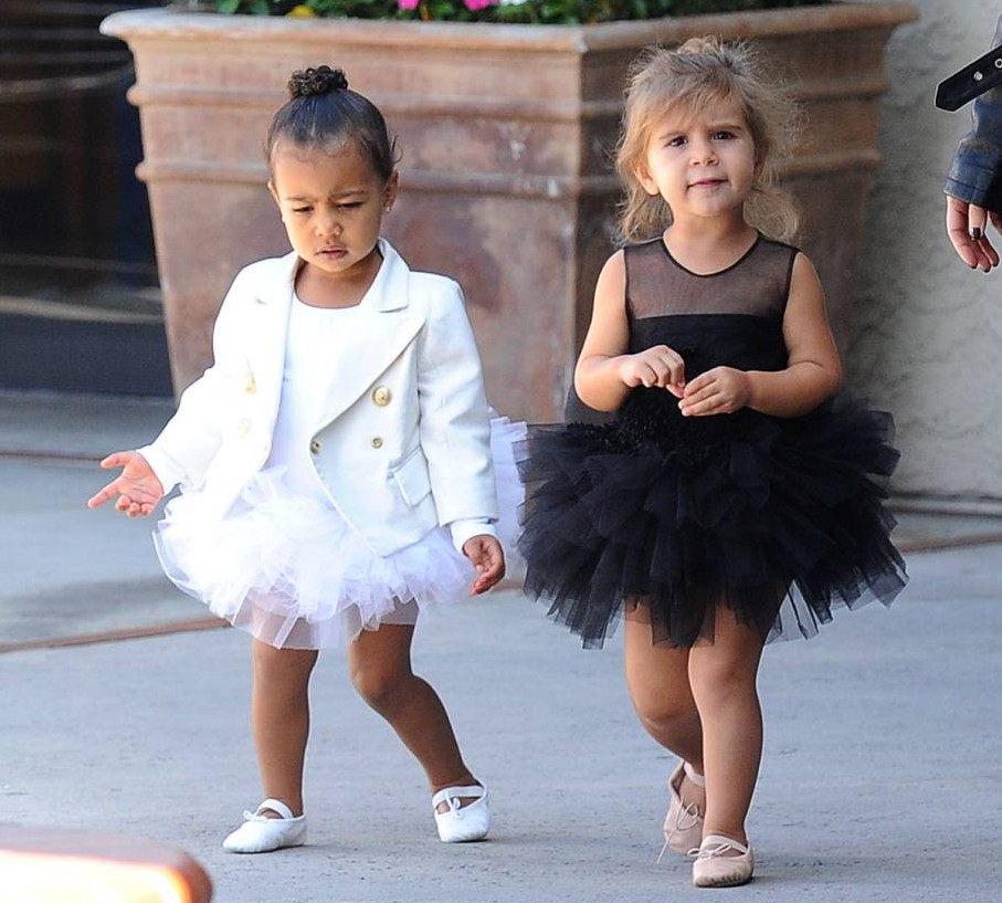 Mandatory Credit: Photo by Startraks Photo/REX Shutterstock (4796806av)  North West and Penelope Scotland Disick  Kim Kardashian and Kourtney Kardashian out and about, Los Angeles, America - 28 May 2015  Kim Kardashian and Kourtney Kardashian Around Town In La