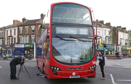 Police Investigate the scene in Walthamstow after a unicyclist and a bus were in collision. A crowd of heroic bystanders freed a seriously injured unicyclist from under a bus after it knocked him down in Walthamstow during the evening rush hour. The victim was left fighting for his life in hospital after being hit by a number 212 bus in Hoe Street just before 6pm today. Witnesses told how up to 100 bystanders, some of whom had been dining at nearby restaurants, attempted to lift the bus off the unicyclist after he became trapped under it. © Nigel Howard / Evening Standard / eyevine Contact eyevine for more information about using this image: T: +44 (0) 20 8709 8709 E: info@eyevine.com http://www.eyevine.com