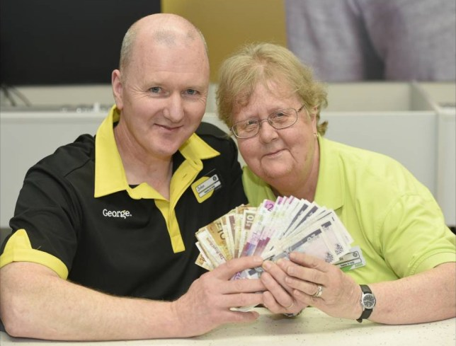 Asda have donated more than £7,000 to local charities after the cash was left at a counter in the firm's Edinburgh Chesser store. Linda Anderson and John Fawns who found the money.