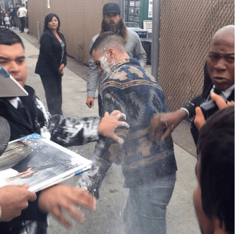 Maroon 5 singer Adam Levine attacked with 'sugar bomb' outside Jimmy Kimmel studio