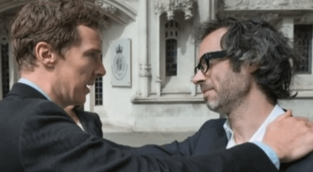 Benedict Cumberbatch supports his best friend James Rhodes at a Supreme Court ruling (Picture: PA)