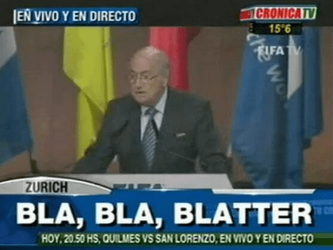 Argentine television station trolls Sepp Blatter as he gives speech ahead of Fifa election against Prince Ali bin al-Hussein