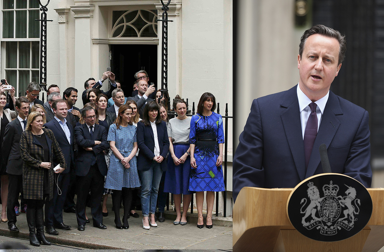 Samantha Cameron (R) and party faithful listen as Britain's Prime Minister David Cameron speaks outside Number 10 Downing Street to announce he will form a new majority goverment in London, Britain May 8, 2015. Cameron won a stunning election victory in Britain, overturning poll predictions that the vote would be the closest in decades to sweep easily into office for another five years, with his Labour opponents in tatters.  REUTERS/Phil Noble