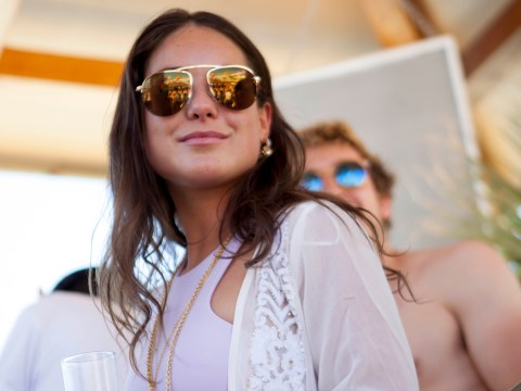 Glamorous Louise Thompson swigs champagne from the bottle as Made In Chelsea boyfriend flies back to NYC
