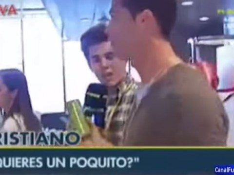 Cristiano Ronaldo offers reporter his drink instead of answering questions as his media boycott continues