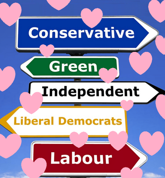 Political signs and hearts