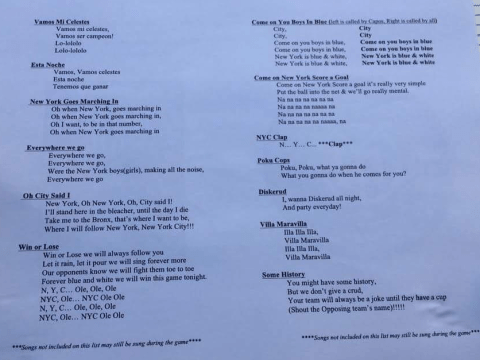 New York City FC issues fans with horrendous song sheets
