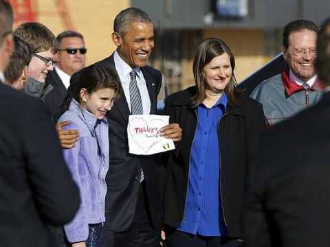 Obama finally visits South Dakota, and one girl couldn't be happier