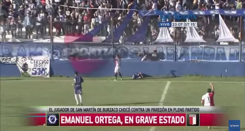Argentine player Emanuel Ortega dies of fatal head injury sustained after hitting concrete wall during game