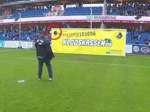 Football fan Michael Hansen nets £10,000 after hitting stunning strike during half-time competition